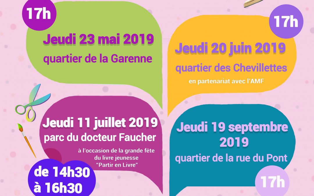 Animations au sein des quartiers «La médiathèque vient à votre rencontre…» – Prochain rendez-vous : le jeudi 11 juillet 2019, de 14h30 à 16h30, parc du docteur Faucher