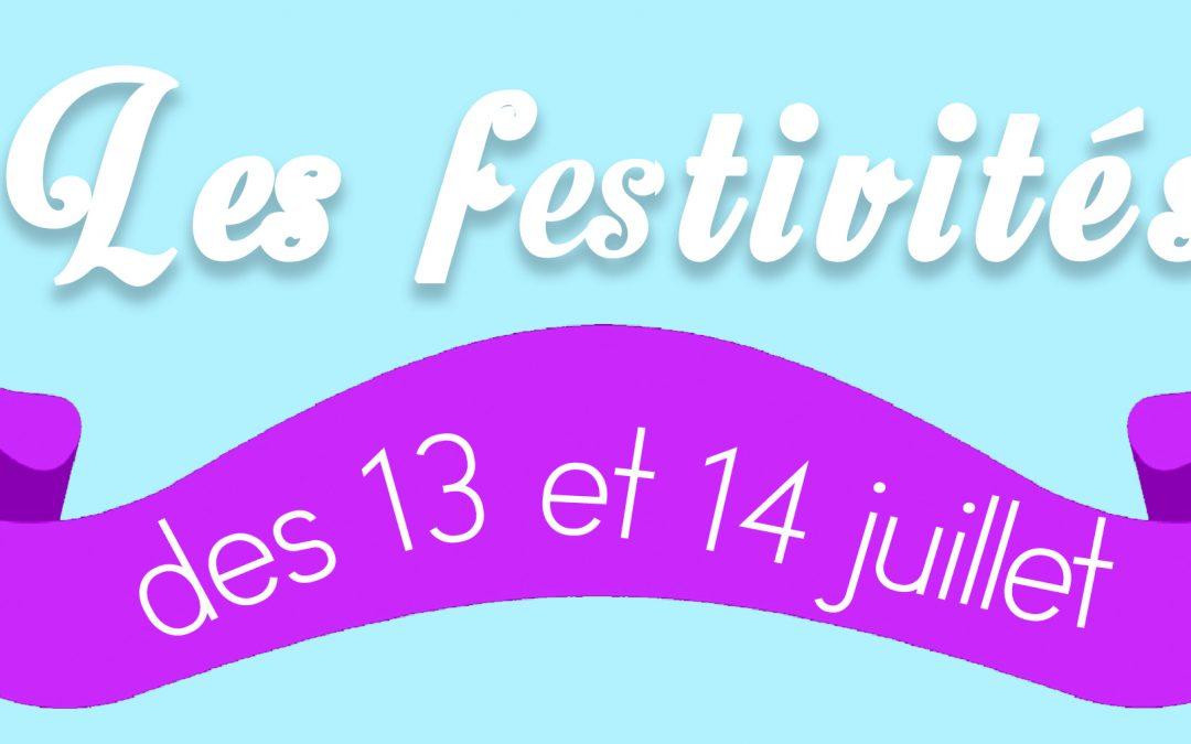 Festivités du 13 et 14 juillet, organisées par la municipalité