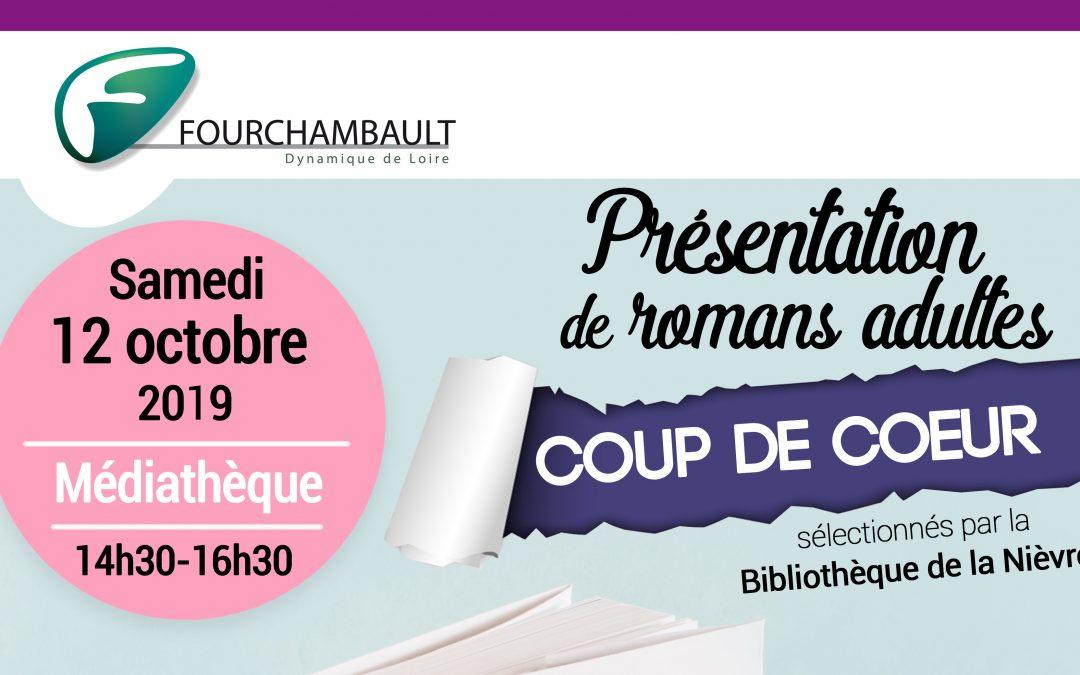 Présentation de romans adultes «coup de cœur», sélectionnés par la Bibliothèque de la Nièvre