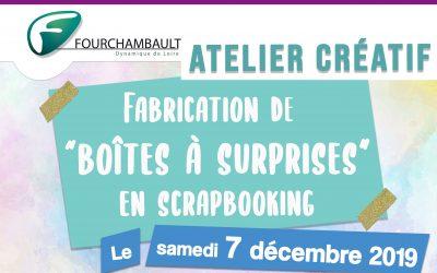 Atelier créatif – Fabrication de «boîtes à surprises» en scrapbooking – 7 décembre 2019 – Médiathèque
