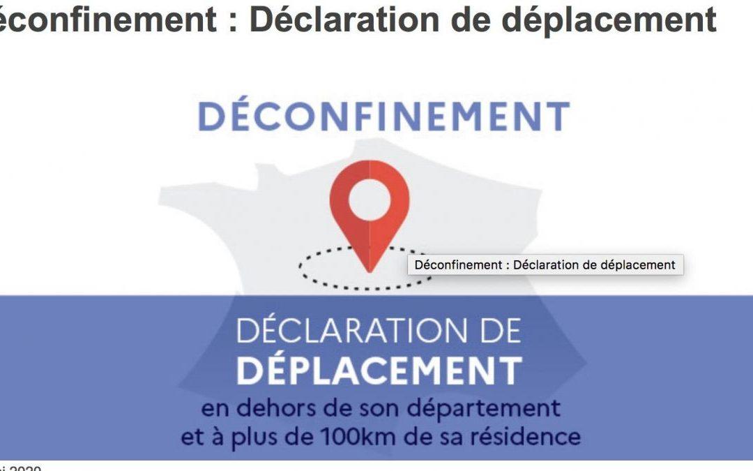 Déclaration de déplacement en dehors de son département et à plus de 100km de sa résidence