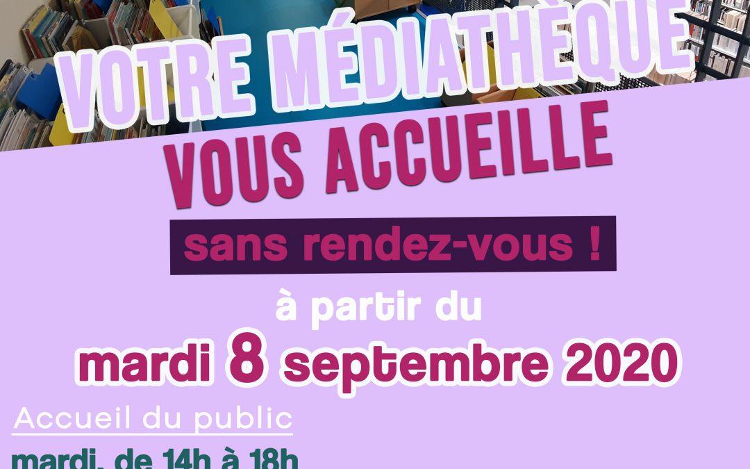 La médiathèque vous accueille, à partir du mardi 8 septembre, sans rendez-vous !